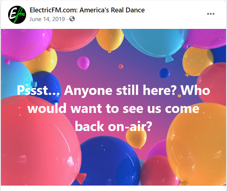ElectricFM Facebook Post - June 2019